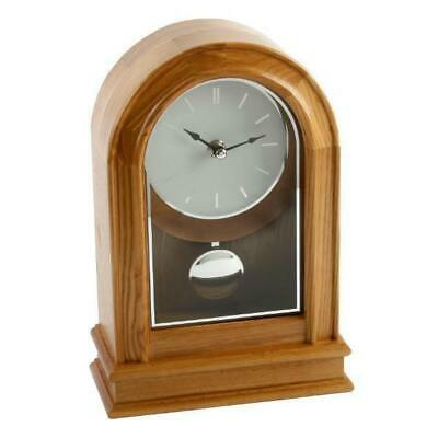 Arched Light Oak Finish Pendulum Desk Mantel Mantle Clock Baton Dial