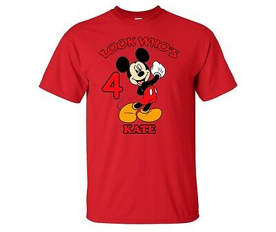 Mickey Mouse Personalized Custom Birthday Shirt in 8 Different Colors