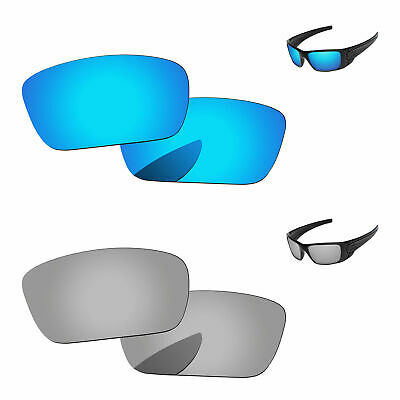 Silver Chrome & Ice Blue Polarized Replacement Lenses For-Oakley Fuel Cell