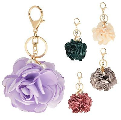 New Ladies Satin Pearls And Flower Gold Chain Keyring Keychain Bag Accessory