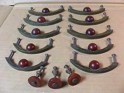 (10)Antique / Unusual Brass Drawer Pulls / Handles &3 Knobs--Solid Brass-2 Sizes