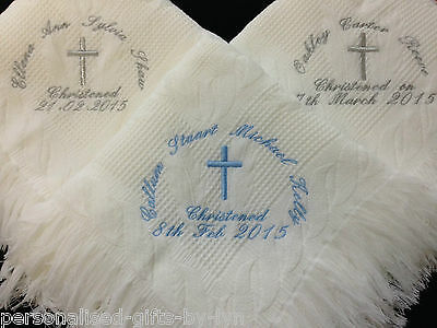 PERSONALISED CHRISTENING SHAWL - Choice of thread colours