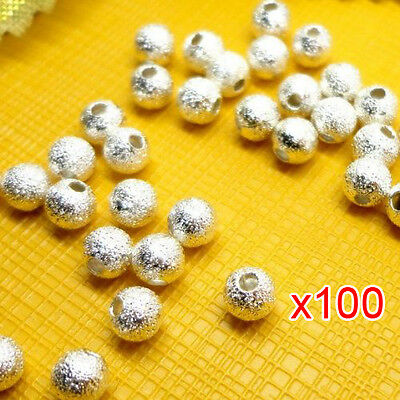 100pcs Spacer Beads Findings Stardust Silver Plated Base Round 4mm for Making SP