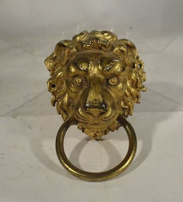 Antique European English Gilt Bronze Lion Door Knocker Architectural Piece