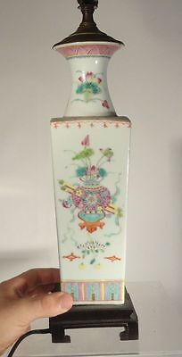 Antique Chinese Vintage Enameled Painted Lamp Republic Period Vase Ritual Object