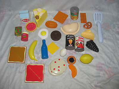 Play Food Lot - Some Wooden, Some Plastic - Milk, Fruit, Waffle, Oreo, Waffle
