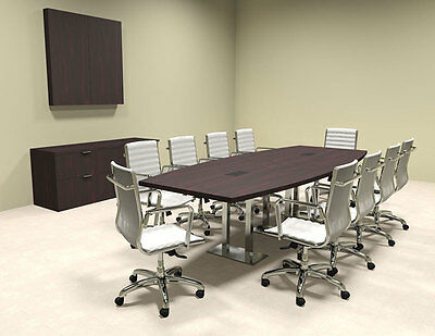 MODERN BOAT SHAPED Steel Leg Feet Conference Table OFCONCM - 10 foot conference table