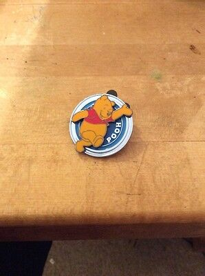 WINNIE THE POOH on Blue Circle Round Disk Series Disney Pin #15a
