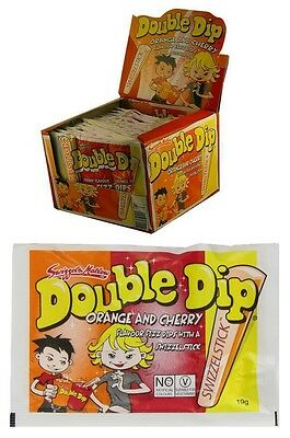 Bulk Lot 36 x Double Dip Orange & Cherry 19g Kids Dips Candy Sugar Swizzle Stick