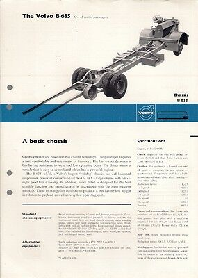 Volvo B 635 Bus 42-46 Seater Chassis 1962-63 UK Market Specification Brochure