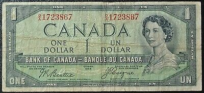 BANK OF CANADA 1954 $1 DEVIL'S FACE NOTE - Prefix O/A - Signed Beattie & Coyne