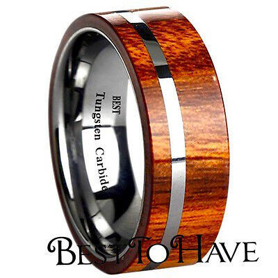 New KOA Wood Inlay 8mm Mens Tungsten Carbide Wedding Band Ring