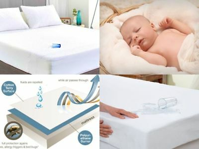 100% Waterproof Terry Toweling Mattress Protectors / Cot Bed / Pillow Protectors