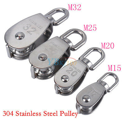 M15 M20 M25 M32 Durable Heavy Duty Single Wheel Swivel Lifting Rope Pulley Block