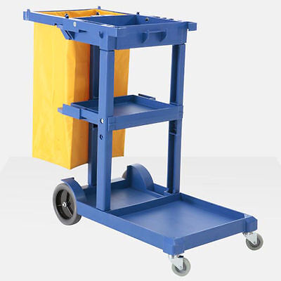 Canada 3-Shelf Janitor Cart with Vinyl Zippered Bag Blue Plastic for Hotel