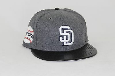 more photos 2a649 314ab france new era 5950 fitted hat leather melt mlb san diego padres leather  visor a1e14 c5845