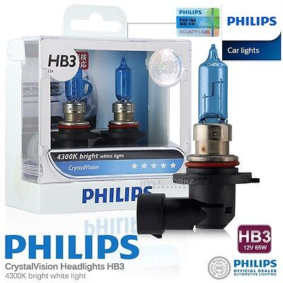 Genuine PHILIPS HB3 Crystal Vision Hi Lo Halogen Bulb 4300K 12V 65W Car Light