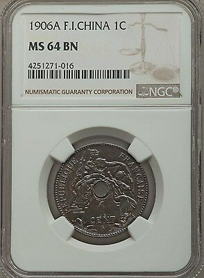 1906 A French Indo-China 1 Cent NGC MS 64 BN, Vietnam, Cochin