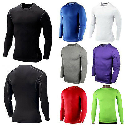 Mens Sport Compression Base Layers Long Sleeve Winter Thermal Tops Gym T-shirts