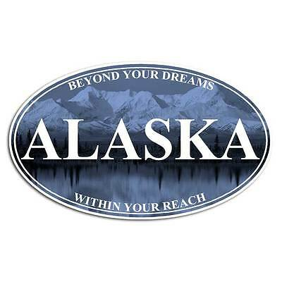 Alaska State Sticker - Mount Mckinley Mountain Wildlife Hiking Decal Blue