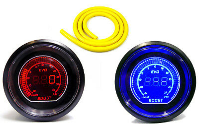 Digital 52mm Universal Turbo Boost gauge 35 psi Red Blue Light & Yellow Hose