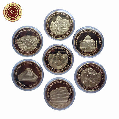 WR Best Gift New 7 Wonders of The World 7pcs  Gold Plated Coin Series Collect
