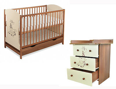 Baby furniture set MIKI : cot with drawer + chest with drawers + mattress