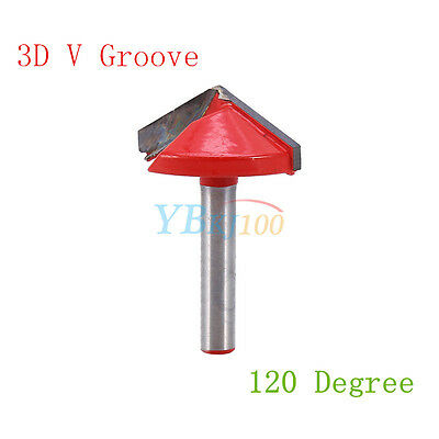 1 * Router CNC Engraving Bit Cutter Tool 6mm x 32mm 120 Degree 3D V Groove