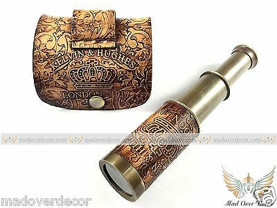 Antique Vintage Leather Kelvin & Hughes Brass Telescope Spyglass Navy Scope 1917