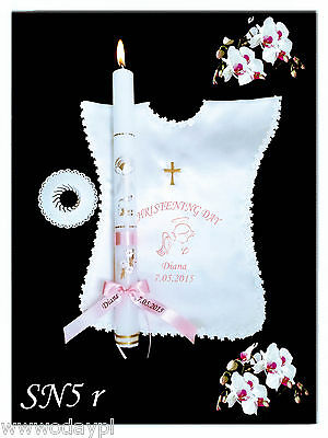 Personalised Girl Boy Christening Candle, Garment, Baptism, Gift Favors Candles