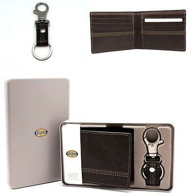 Gift set for Him Fossil Men's Bifold Wallet with Key chain Black n Brown Leather