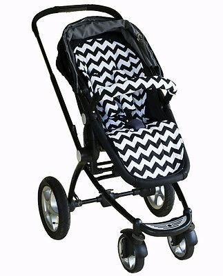 Bambella Pram Liner + Strap Covers Universal Fit BLACK CHEVRON -NEW RELEASE