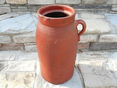 """** Beautiful Early Antique 3 Gallon Red 14"""" Butter Churn w/ Handle Primitive **"""