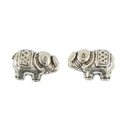 50 pcs Tibetan Silver Elephant Spacer Charms Alloy Bead Jewelry DIY Makings