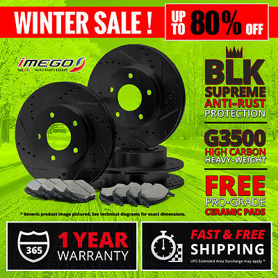 Front+Rear | BLACK Slotted Drilled Rotors & Ceramic Pads Jeep Grand Cherokee