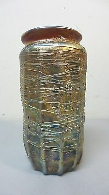 """Beautiful Gold """"cypriote"""" Style Threaded Iridescent Art Glass Vase"""