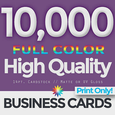 10,000 Full Color Business Cards Both Sides PRINT ONLY & FREE SHIPPING