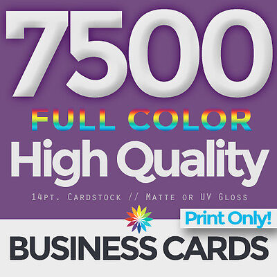 7500 Full Color Business Cards Both Sides PRINT ONLY & FREE SHIPPING