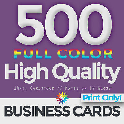 500 Full Color Business Cards Both Sides PRINT ONLY & FREE SHIPPING