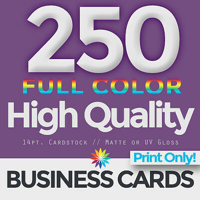 250 Full Color Business Cards Both Sides PRINT ONLY & FREE SHIPPING