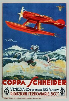 AIRLINES OF ITALY 1927 Vintage Italian Travel Poster CANVAS ART PRINT 24x32 in.