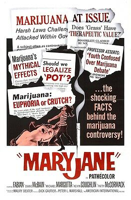 MARY JANE MARIJUANA, Vintage Movies Poster Rolled CANVAS ART PRINT 24x33 in.