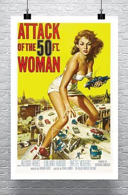 Attack of the 50 Ft. Woman Vintage Movie Poster Rolled Canvas Giclee 24x34 in.