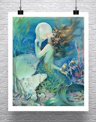 Oriental Sea Mermaid Vintage Fine Art Illustration Giclee Canvas Print 20x30