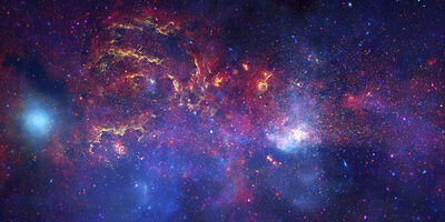 MILKY WAY GALAXY CENTER, Deep Space Reproduction Rolled CANVAS PRINT 44x24 in.