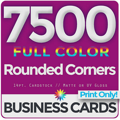 7500 Full Color Business Cards Both Sides, ROUNDED- PRINT ONLY & FREE SHIPPING