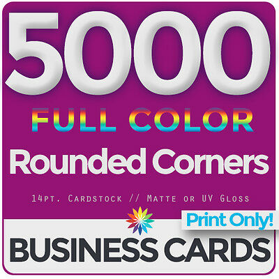 5000 Full Color Business Cards Both Sides, ROUNDED- PRINT ONLY & FREE SHIPPING