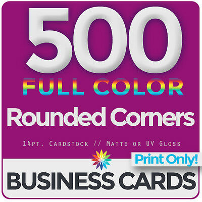 500 Full Color Business Cards Both Sides, ROUNDED- PRINT ONLY & FREE SHIPPING