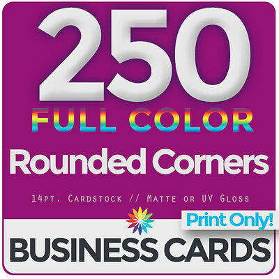 250 Full Color Business Cards Both Sides, ROUNDED- PRINT ONLY & FREE SHIPPING