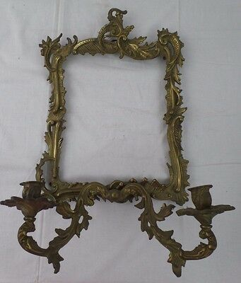 Solid Brass Ornate Picture Frame w/2 Candlestick Holders,Heavy Wall Hanging Deco